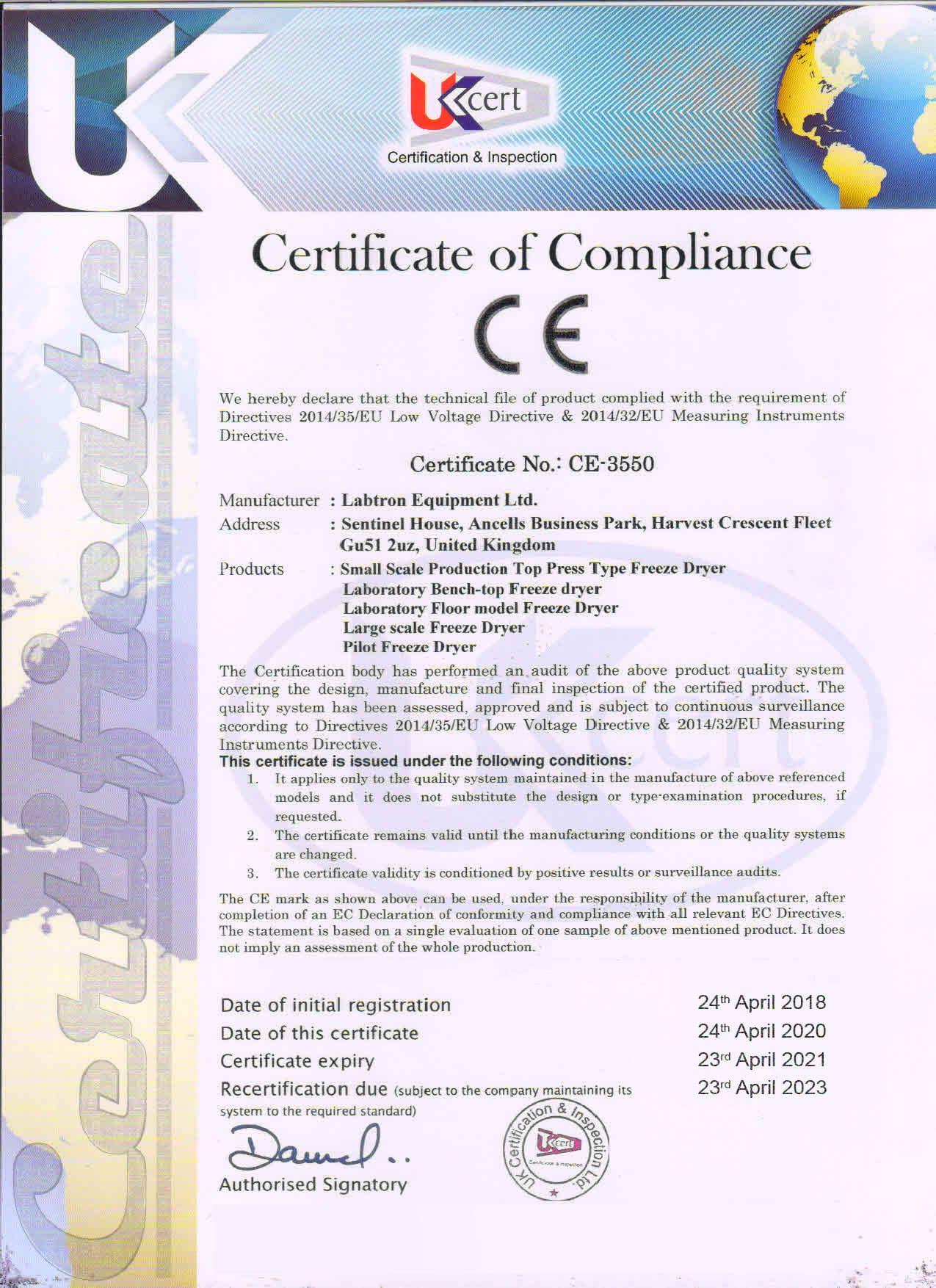 Labtron Equipment Ltd. >Certificate of Compliance CE-3550 : Labtron Certification