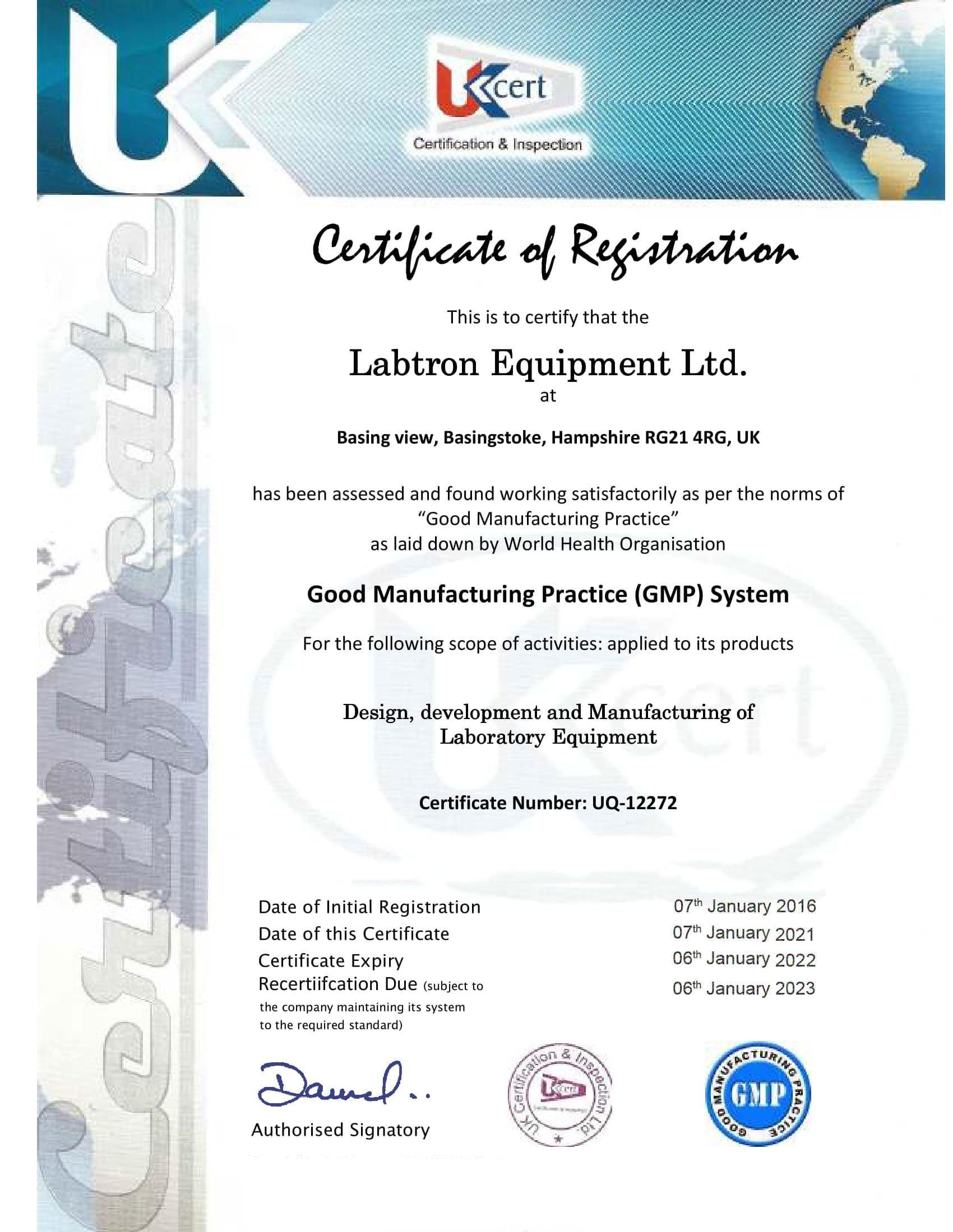 Labtron Equipment Ltd. GMP UQ-12272 UKCert