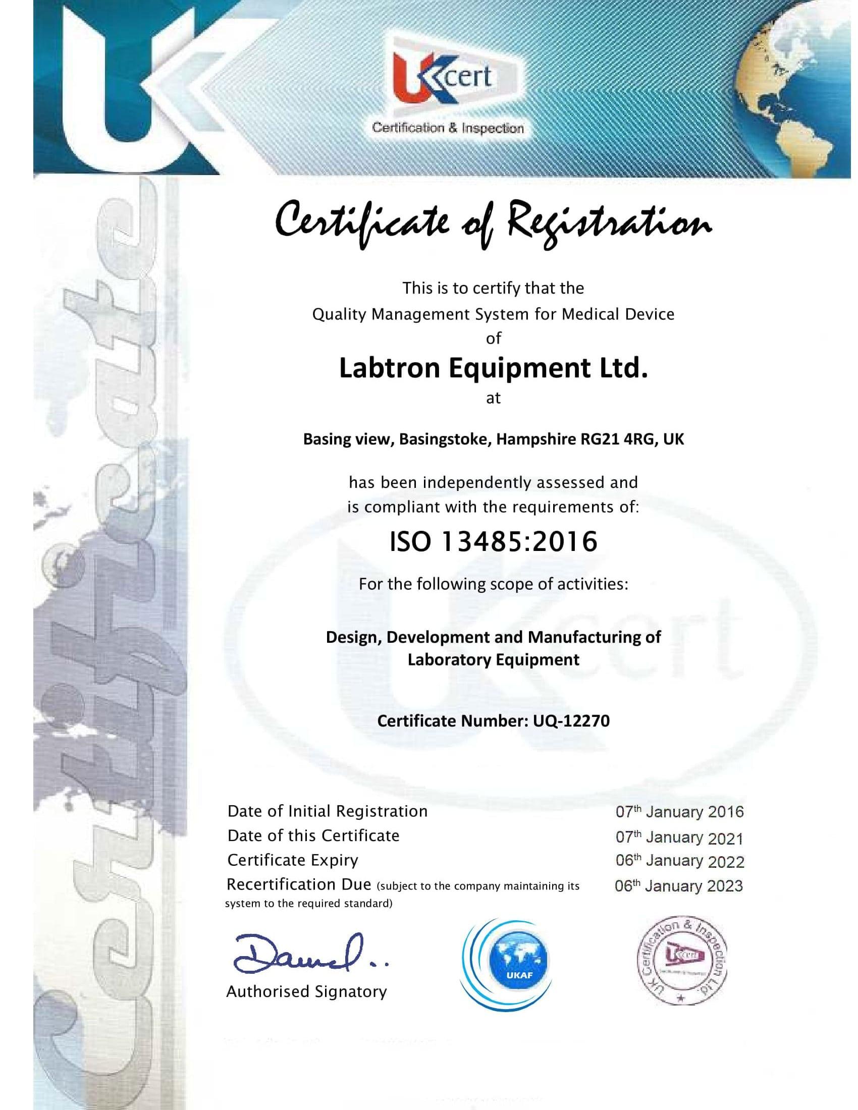 Labtron Equipment Ltd. GMP ISO 13485 UKCert