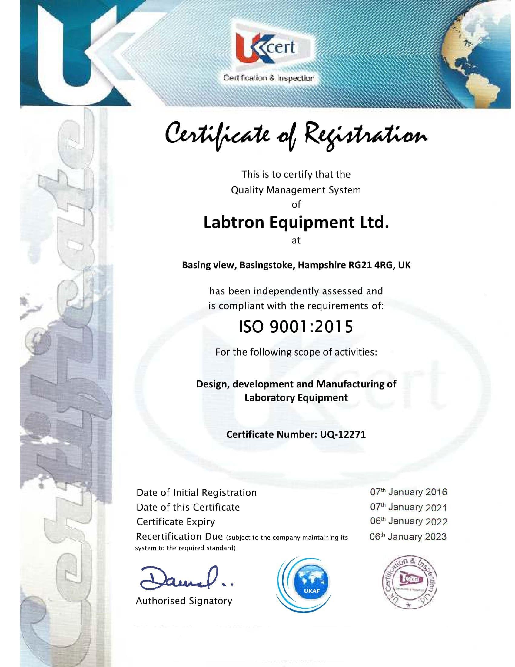 Labtron Equipment Ltd. ISO 9001 UKCert